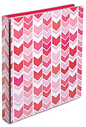 Divoga 1 inch 3 Ring School Fashion Binder, Red/Pink Chevrons