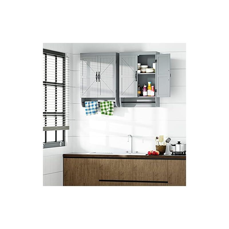SRIWATANA Bathroom Wall Cabinet, 2-Door Medicine Cabinet with Adjustable Shelf, Gray