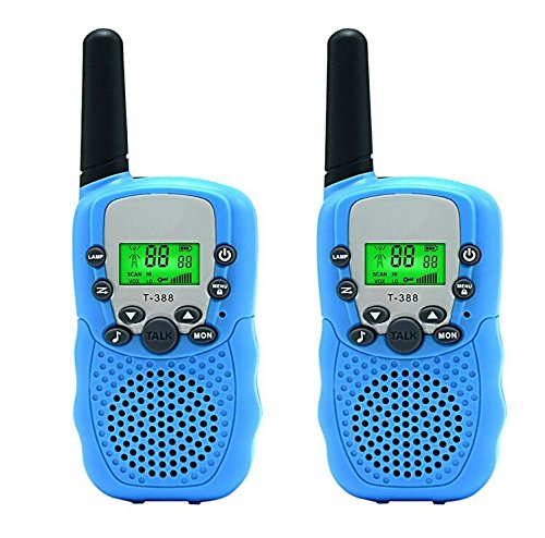 Eoncore 2pcs Mini Kids Walkie Talkies Long Range 22CH LCD Display With Flashlight Two Way Radio Toy for Kids (Blue)