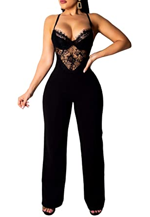 cead9bed499 Women's Lace Jumpsuits Sexy Adjustable Strap Backless Sleeveless Long Pants