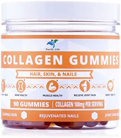 Collagen Gummies for Men and Women's Hair, Skin, and Nails   90ct   Joint Care Vitamin Supplement for Anti-Aging   Hydrolyzed Non Gelatin Non-GMO All Natural Supplement Kosher & Halal with Low Sugar