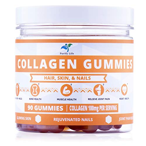 Collagen Gummies for Men and Women's Hair, Skin, and Nails -90ct- Joint Care Vitamin Supplement for Anti-Aging - Hydrolyzed Non Gelatin Non-GMO All Natural Supplement Kosher and Halal with Low Sugar ()
