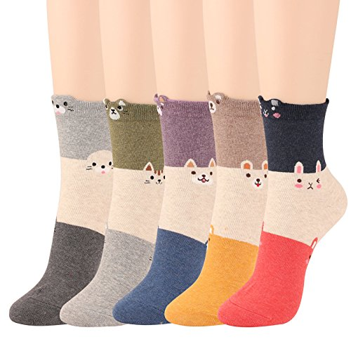 WOWFOOT Animal Zoo Casual Cute Fun Cotton Print Ankle Socks Design  3 Ton color-5 pairs  3 Ton Color-5 Pairs One Size (Zoo Too Zoo Good)
