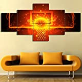 Wall Pictures for Living Room Fiery Basketball Red Artwork 5 Piece Canvas Wall
