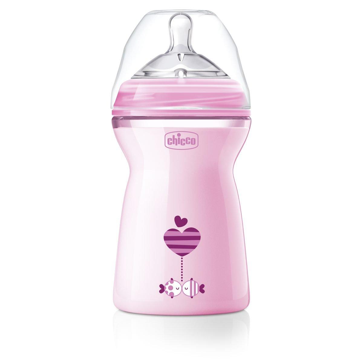 rosa flujo r/ápido 330 ml Chicco NaturalFeeling Biber/ón con tetina especial para lactancia mixta 6 m+