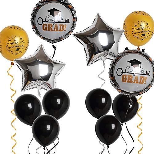 Congrats Grad Balloons 15pcs Kit for Graduation Party Decorations Gold Black Silver Congratulations Star Aluminium Foil Rubber Balloon Ribbon Bouquet for Class of 2019