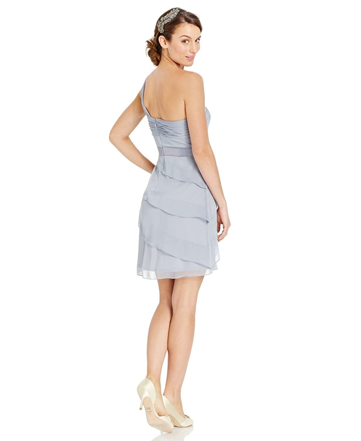 Adrianna Papell Womens One-Shoulder Tiered Chiffon Dress Silver 8 at ...