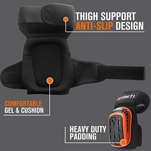 Knee Pads for Work, Construction Gel Knee Pads Tools by REXBETI, Heavy Duty Comfortable Anti-slip Foam Knee Pads for Cleaning Flooring and Garden, Strong Stretchable Double Straps - Orange, 1 Pair by REXBETI (Image #2)