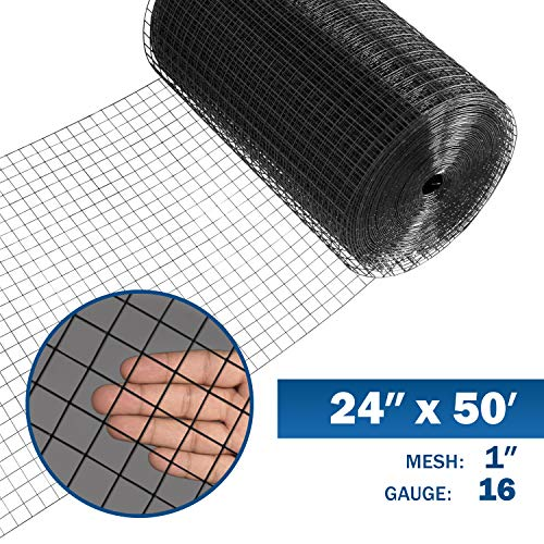 1 Inch 16 Gauge - Fencer Wire 16 Gauge Black Vinyl Coated Welded Wire Mesh Size 1 inch by 1 inch (2 ft. x 50 ft.)