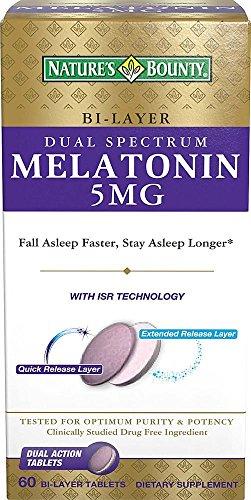 Natures Bounty Dual Spectrum Bi-Layer Melatonin Tablets, 5mg