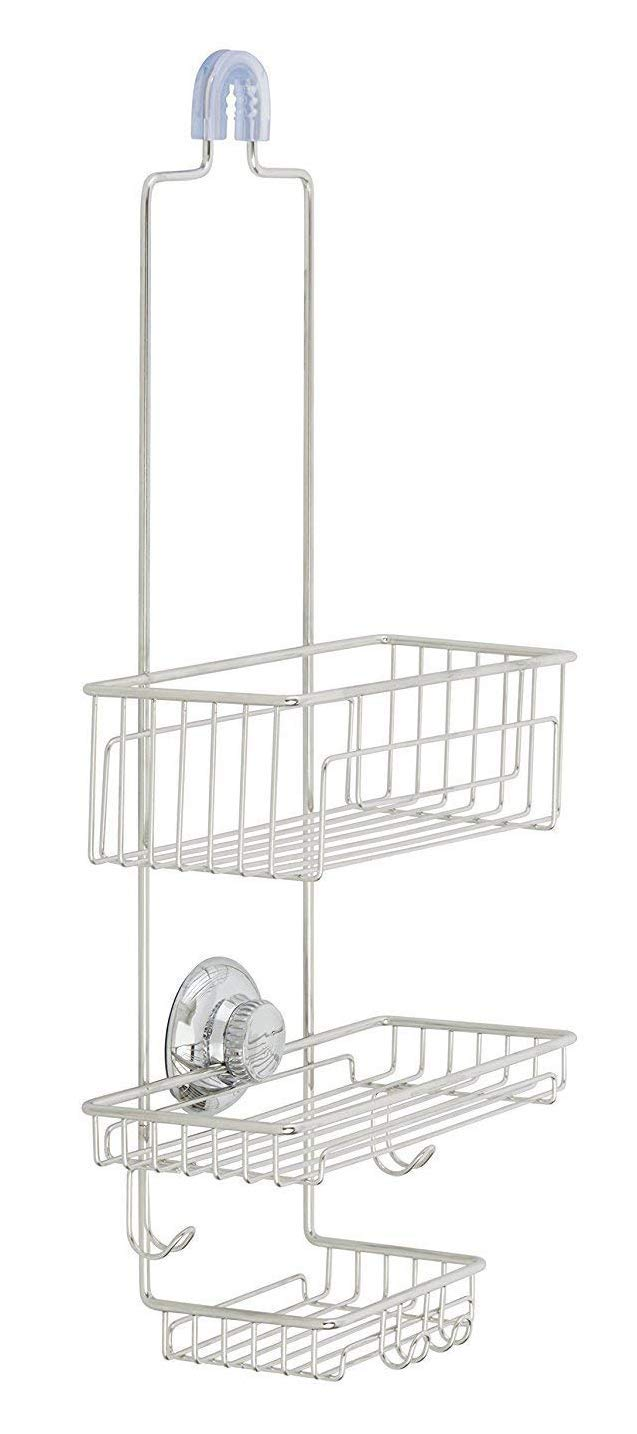 Gecko-Loc Over The Shower Head Medium Height Shower Caddy Organizer with Super Suction Cup & Shower Head Hanger - Stainless Steel Rustproof - Adhesive Disk Now Included