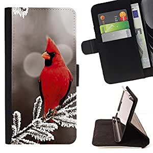 Momo Phone Case / Flip Funda de Cuero Case Cover - Red Bird Majestic - Sony Xperia Z5 5.2 Inch (Not for Z5 Premium 5.5 Inch)