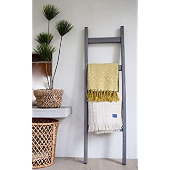 Bits + Bushel, 5 Ft Wooden Decorative Ladder | 4 Rung, Stained Weathered  Gray