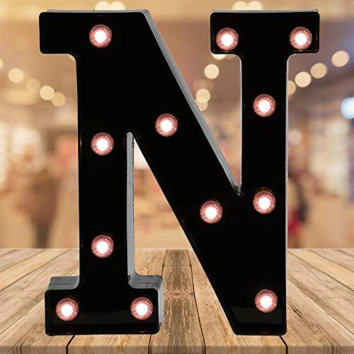 Light up Letters LED Letter Black Alphabet Letter Night Lights for Home Bar Festival Birthday Party Wedding Decorative (Black Letter N)
