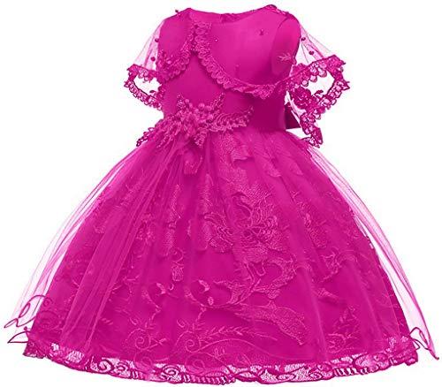 Big Girls Lace Crochet Wedding Bridesmaid Birthday Party Flower Girl Dress,Fuchsia 8-9