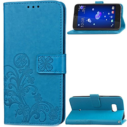 HTC Desire 10Pro Case, Very Light Slim Art Grass Deisgn Soft Wallet Stand Flip Cover Card Slots, WEIFA 2018 Newest Super Cool Thin Anti-Scratch Cellphone Case for HTC Desire 10 Pro Blue