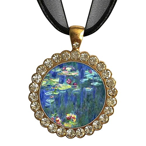 GiftJewelryShop Gold-Plated Monet Water Lilies White Crystal Charm Pendant Necklace ()