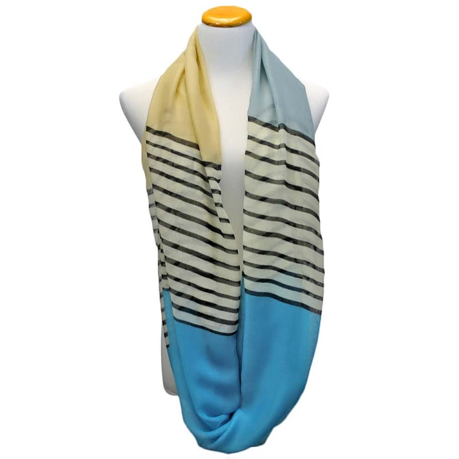 Luxury Divas Color Block Striped Scarf
