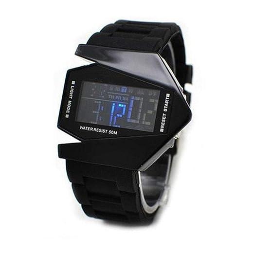 Rocita Correa de Silicona Multifuncional Moda Unisex Estilo Aviones Reloj Blando LED Luminoso Reloj de Pulsera con una función de la batería Negro: ...