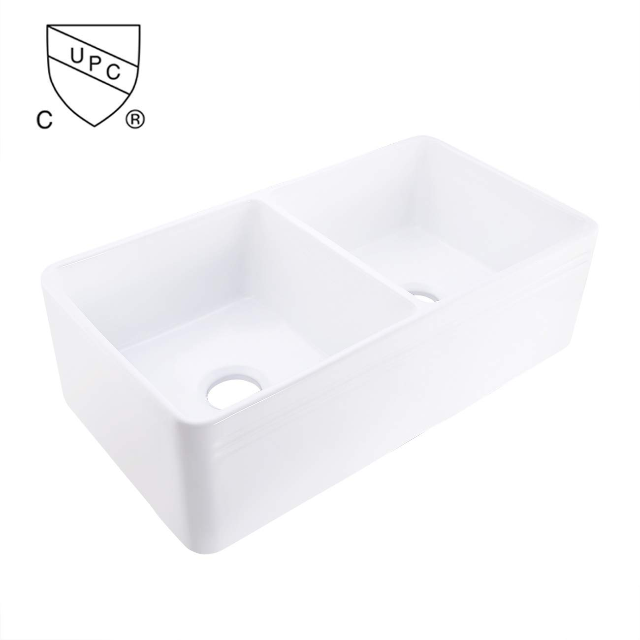 KES cUPC Fireclay Sink Farmhouse Double Kitchen Porcelain Sink 33-1 4 Inch Porcelain Undermount Rectangular White ,KPS100B