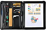 Leather Padfolio Portfolio, Leather Folder Padfolio Case for iPad Pro 12.9'' (Black)
