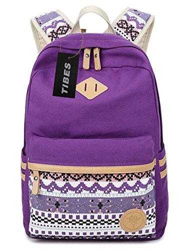 Tibes Mochila de lona vintage Mochila escolar mochilas / mujeres Púrpura