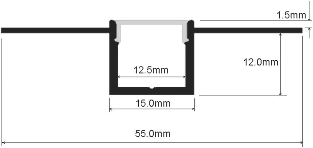 Aluminium LED Profile with Clip-in Diffuser and End Caps StarlandLed 5-Pack 6.6FT//2 Meter Plaster-in Recessed Slim LED Aluminum Channel with Flange for LED Strip