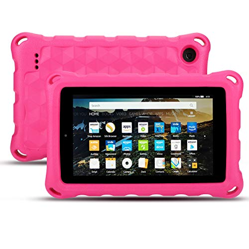 Fire 7 Tablet Case-Dinines Lightweight Shockproof Protective Cover Case for Fire 7 inch Tablet (Compatible with 5th Generation 2015 / 7th Generation 2017) (Pink) ()