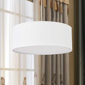 Lámpara colgante, lámpara colgante de techo SPARKSOR, pantalla de tela moderna, pantalla grande de tambor blanco, redondo, para sala de estar del dormitorio, 3 bombillas, E27: Amazon.es: Iluminación