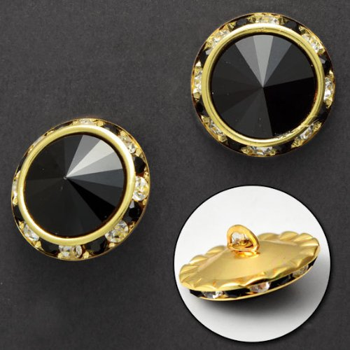 Rivoli Button (25mm Rivoli Rhinestone Button with Shank by each, Black/Gold, SP-2061)