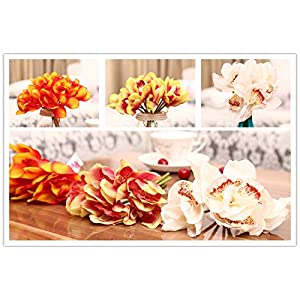 12 PCS High Quaulity Latex Real Touch Cymbidium Orchid Artificial Flower Bouquet for Wedding Holiday Bridal Bouquet Home Party Decor bridesmaid (Orange) 4