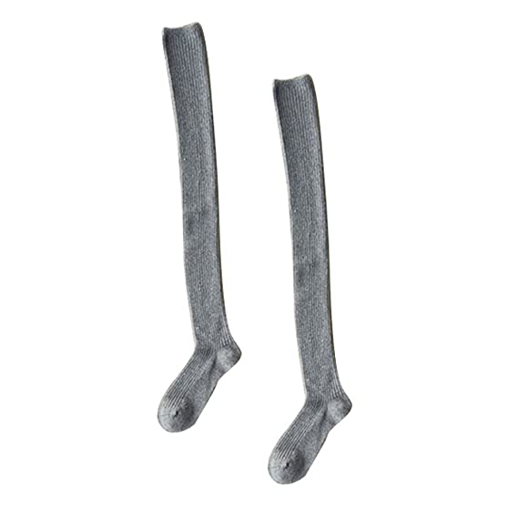 OULII Mujeres invierno lana muslo alta calcetines grueso calientes medias sobre la rodilla calcetines largos (