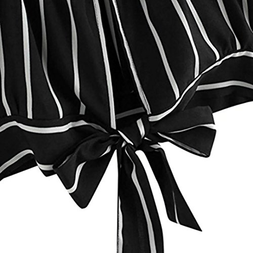 Rayures Blouse en V Dos Collant Noir Femmes Tefamore Auto Haut Camisole Camisole wvqf0xUn