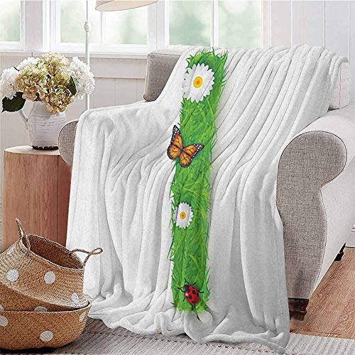 Luoiaax Letter I Commercial Grade Printed Blanket Grass Letters with Floral Butterfly Refreshing Writing Nursery Daisy Print Queen King W60 x L70 Inch Green Multicolor