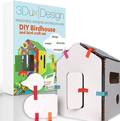 3Dux/design Birdhouse Craft Kit - DIY Build & Paint, Architecture Toy for Kids STEAM Education - 27 Easy to Assemble and Reusable pieces - Open Ended Creative Play