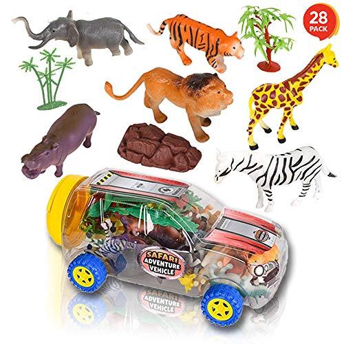 Road Trip Figurine - ArtCreativity Safari Animal Figurine Toys Set in Clear Vehicle Storage Case   Mini Zoo Figures Adventure Kit for Kids   Great Gift Idea for Boys and Girls, Fun Travel Road Trip Activity