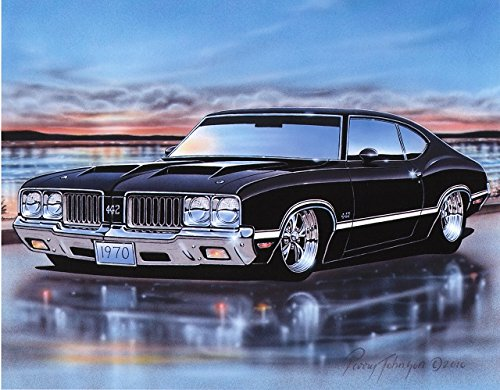 1970 Olds 442 Cutlass Coupe Muscle Car Art Print Black 11x14 (1970 Coupe)