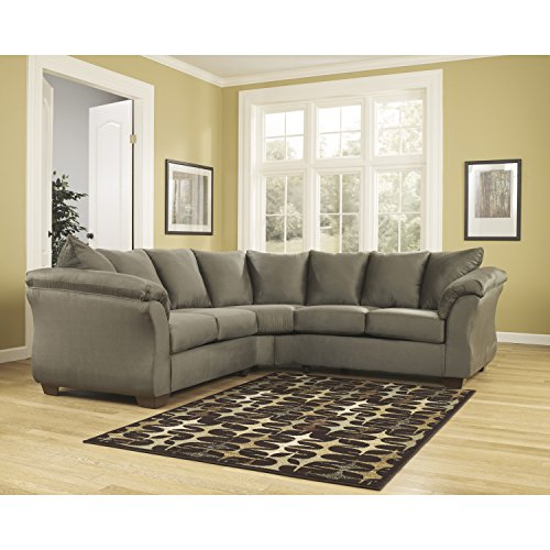 Flash Furniture Signature Design by Ashley Darcy Sectional in Sage Microfiber