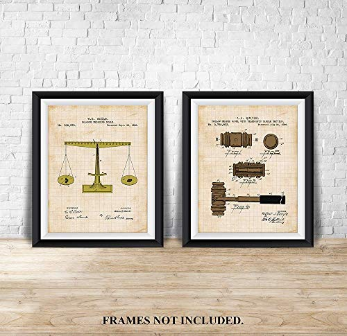 Justice Scale - Patent Prints - 1885 & 1956 - Unique - Art Wall Decor for Lawyers - Library, Office Decor - 11 x 14 inch Unframed Art Prints - Tan ()
