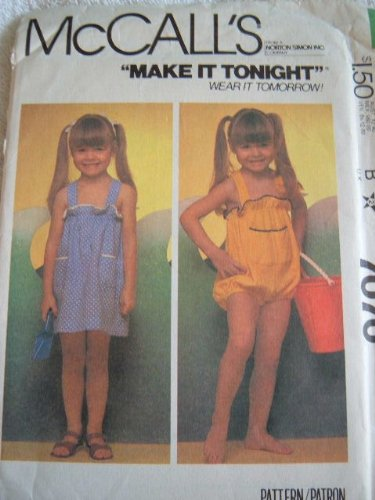 (TODDLERS AND CHILDRENS JUMPER OR SUNDRESS AND ROMPERS SIZE 4 MCCALLS MAKE IT TONIGHT SEWING PATTERN #7070)
