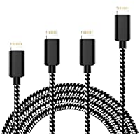 TNSO popsd1 iPhone Charger Extra Long Nylon Braided 8 Pin Lightning Cable USB Charger Cord Compatible with iPhone 7/7 Plus/6S/6S Plus,5/5S/SE, iPad, iPod - Black,Pack of 4