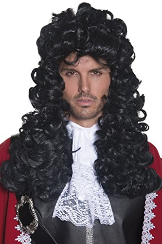 Smiffy's Men's Pirate Captain Wig Long and Curly, Black, One (Hook Wig)
