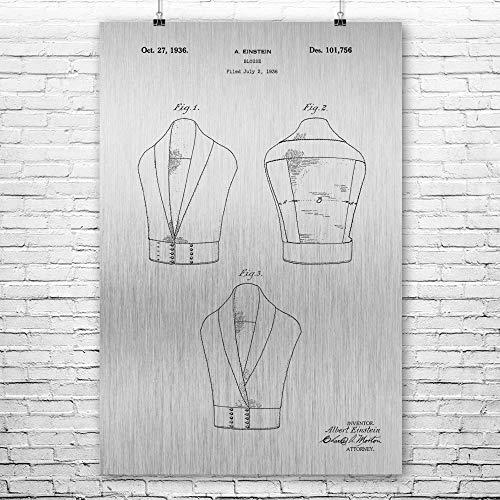 Albert Einstein Blouse Poster Print, Fashion Designer, Famous Scientist, Noble Prize Winner, Historic Inventions Brushed Steel (24