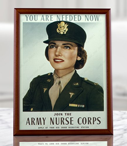 WW2 US Army Nurse Corps Recruiting Poster Replica (8.3x11.7, Brown wood framed -