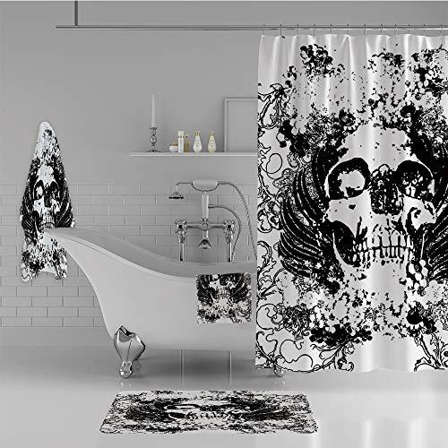 iPrint Bathroom 4 Piece Set Shower Curtain Floor mat Bath Towel 3D Print,Sketch Dead Themed Dark Horror Evil Illustration,Fashion Personality Customization adds Color to Your Bathroom. -