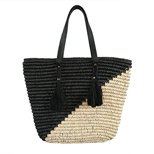 - Natural Straw Tote Shoulder Bag Womens Large - Washable Lining BEACH'D (black/natural)
