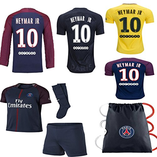 Long Sleeve Replica Jersey - Vivishop PSG Neymar Kid Youth 2017/18 17 2018 PSG Neymar Paris Saint Germaine Replica Home, Away Third Jersey Kit Plus Soccer Bag Ages 2-12 (Neymar Home Long Sleeve Jersey, Size 22 (Ages 4-5))