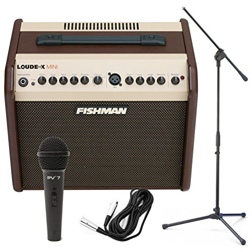 60Watt Two Channel Acoustic Amp w/ Dynamic Microphone, Cable, and Boom Stand! ()
