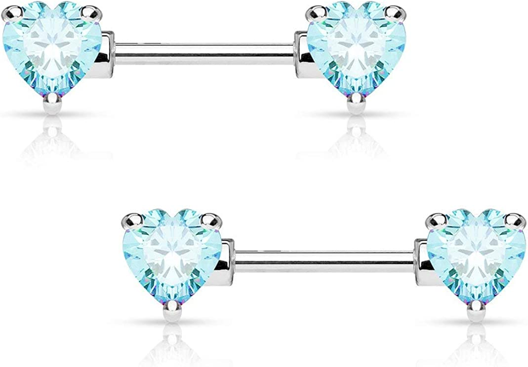 Forbidden Body Jewelry Pair of Surgical Steel 1/2-5/8 Inch (12-16mm) Cubic Zirconia Crystal Double Heart Nipple Barbells