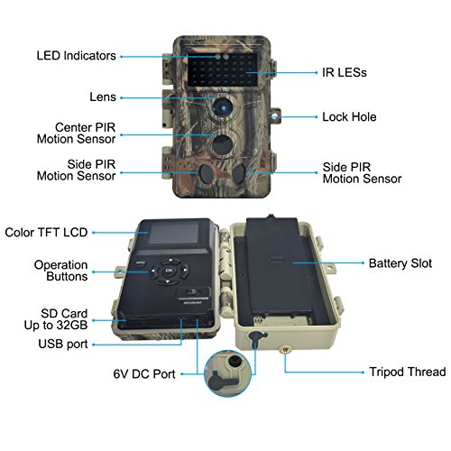 DIGITNOW Trail Camera 16MP 1080P HD Waterproof, Wildlife Hunting Scouting Game Camera with 40Pcs IR LED Infrared Night Vision Up to 65FT /20M, Surveillance Camera 130° Wide Angle 120° Detection by DIGITNOW (Image #6)